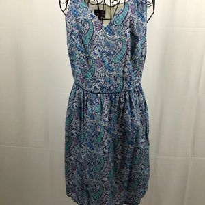 Lord & Taylor blue paisley sleeveless dress 8